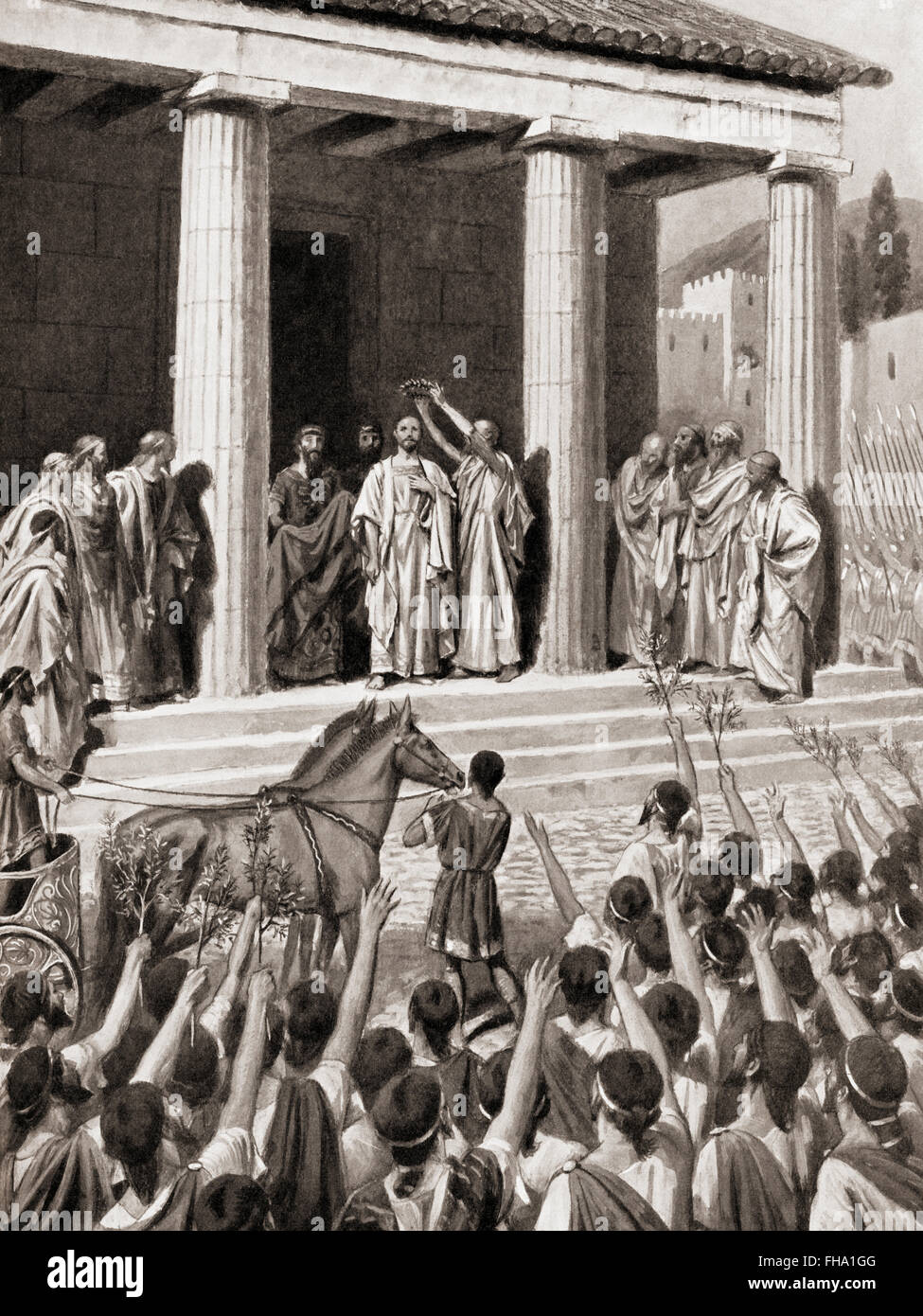 Themistocles is honoured at Sparta, 480 BC after the Greek victory over the Persians in the Straits of Salamis. - Stock Image