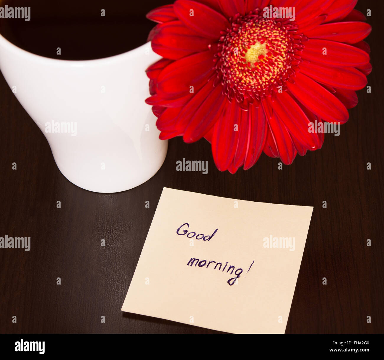 Red Gerbera Flower Cup Of Coffee And Paper With Text Good Stock