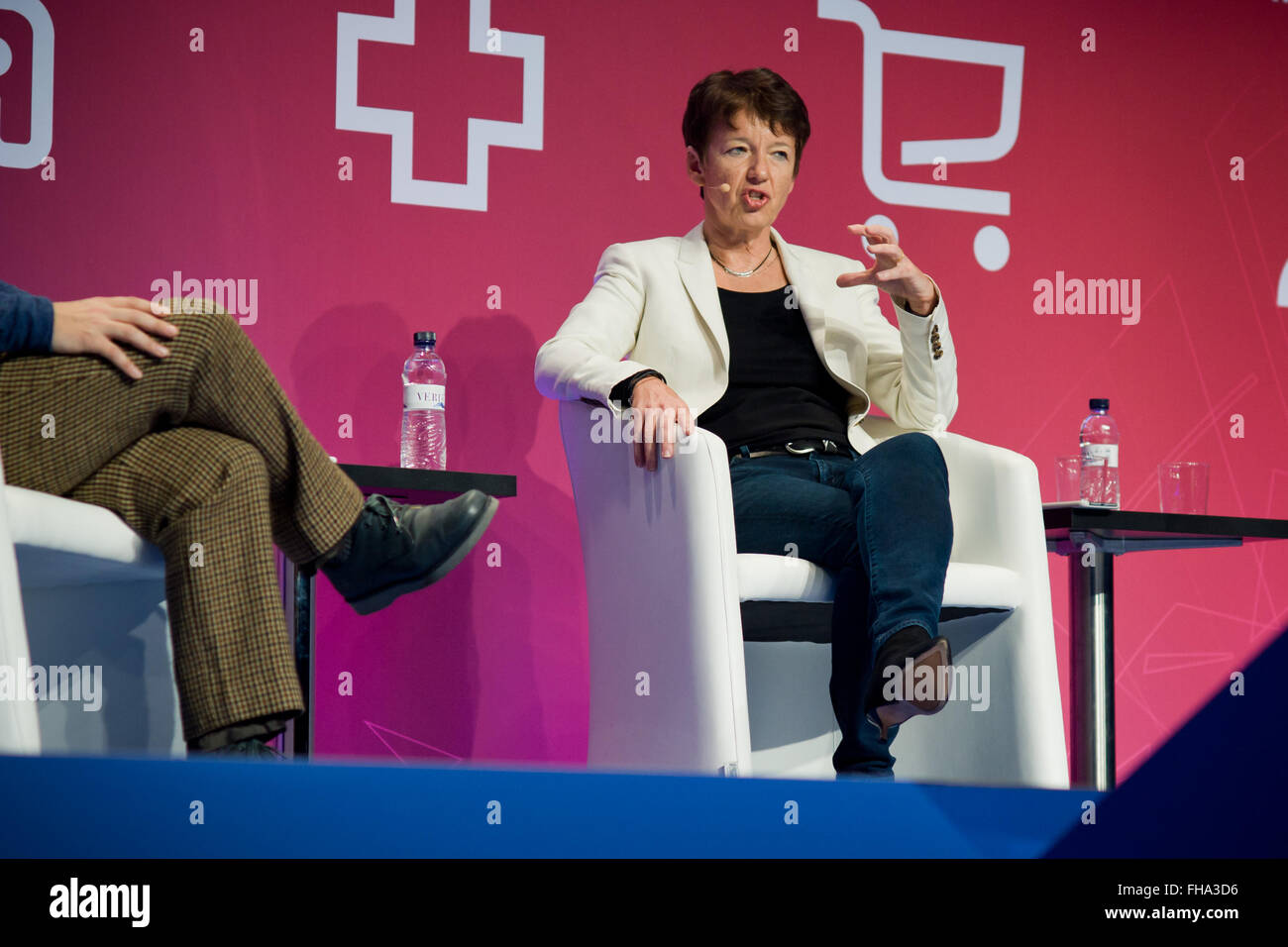 Barcelona, Spain. 24th February, 2016. CEO of Getty Images Dawn Airey speaks during a conference about Mobile Commerce - Stock Image