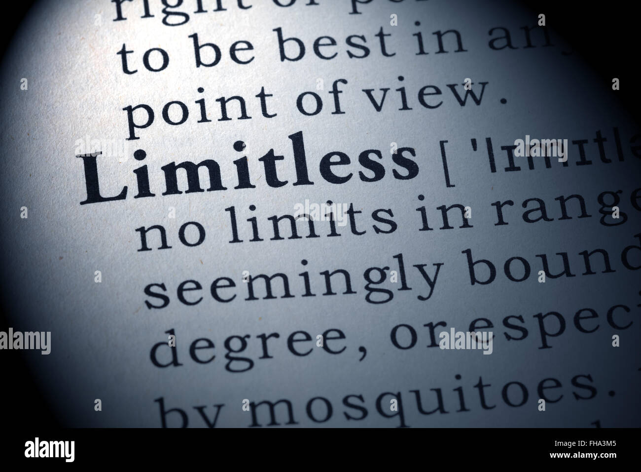 Fake Dictionary, Dictionary definition of the word Limitless. - Stock Image