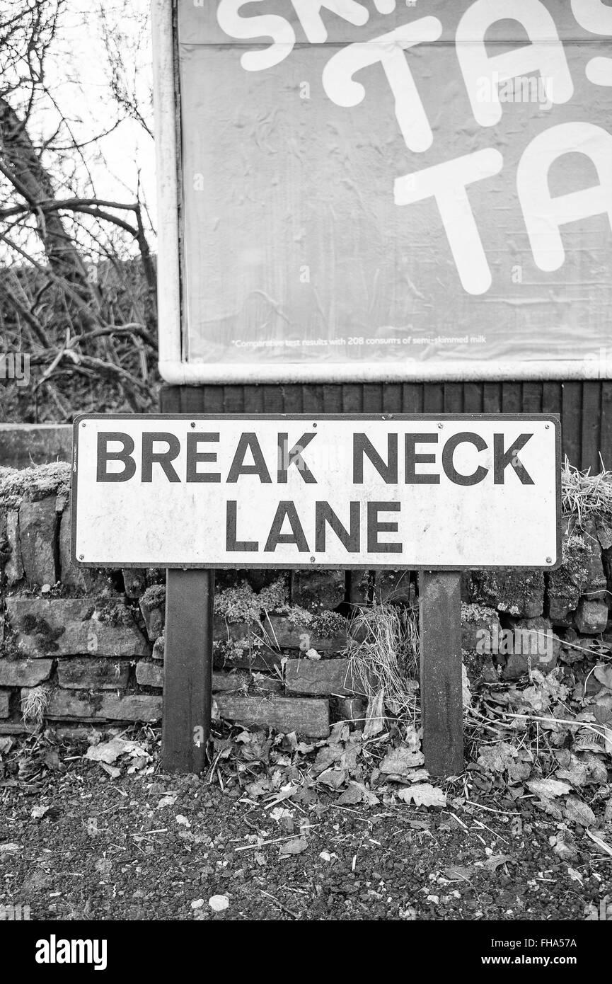 Break Neck Lane road sign - Stock Image