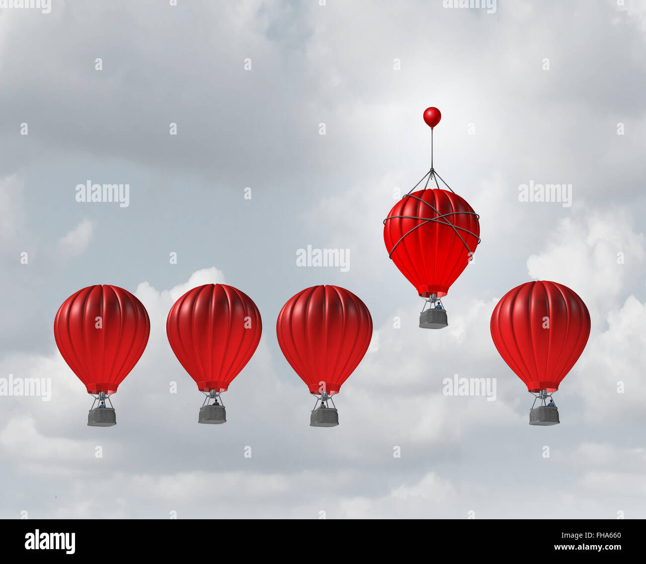 Competitive edge and business advantage concept as a group of hot air balloons racing to the top but an individualleader - Stock Image