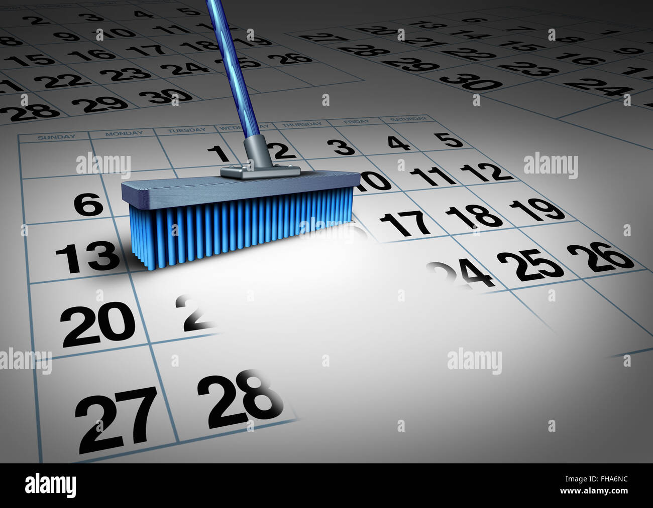 Clear your schedule business concept and reduce a work week symbol as a broom erasing a calendar as a deadline timetable - Stock Image