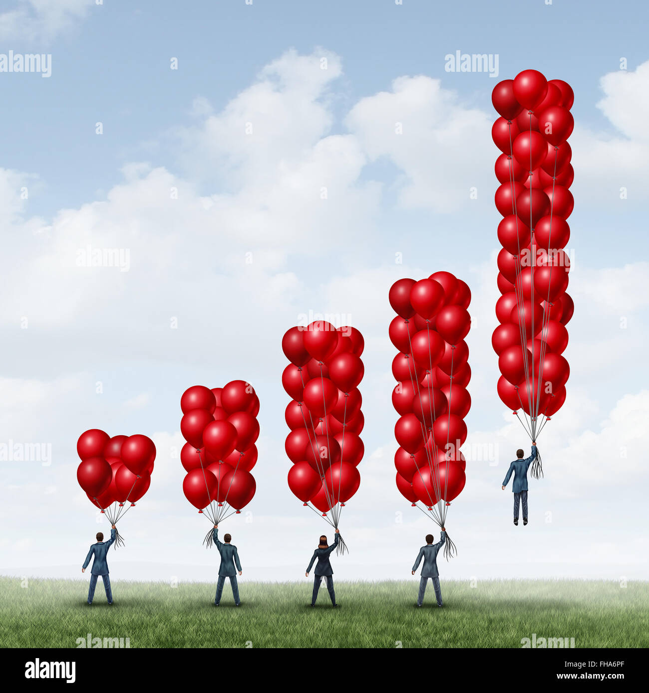 Business success graph as a group of businesspeople holding balloons shaped as a financial chart with one individual - Stock Image