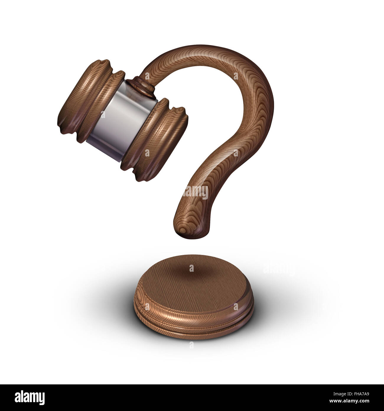 Legal questions concept and court questions symbol and law advice icon as a judge gavel or mallet with a sound block - Stock Image
