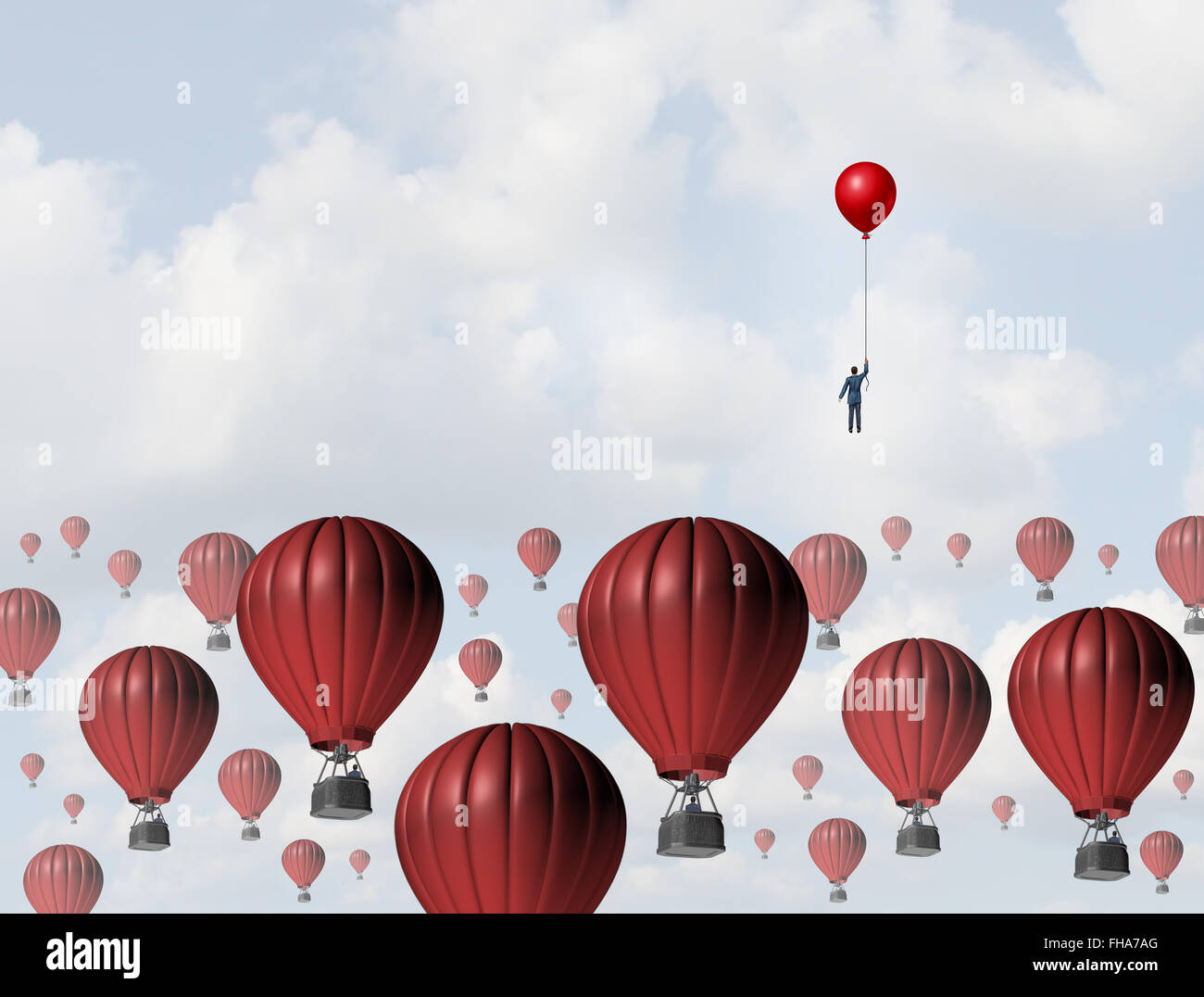 Increase efficiency and improve performance business concept as a businessman holding a balloon leading the race - Stock Image