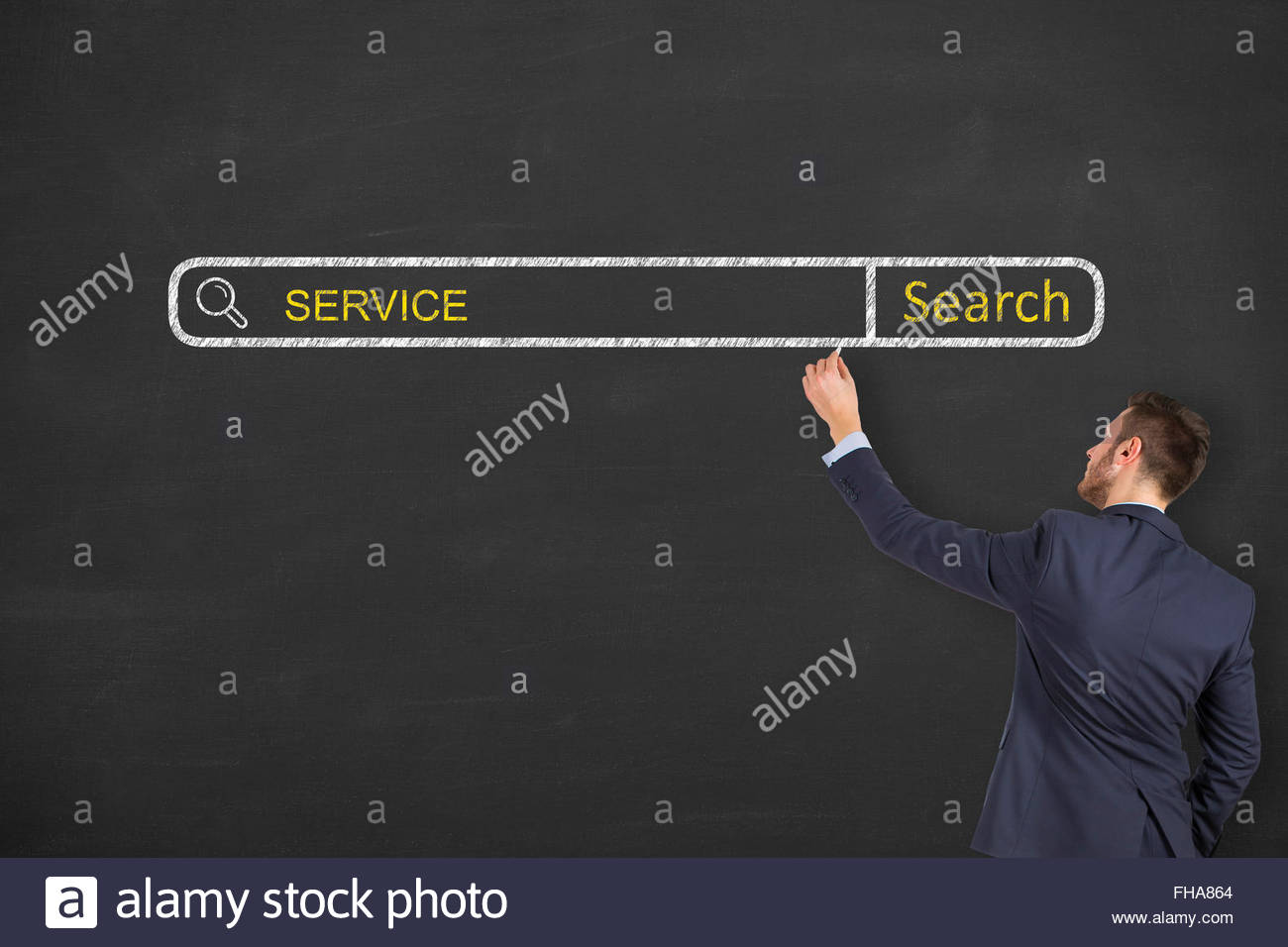 Service Search Engine on Chalkboard Stock Photo