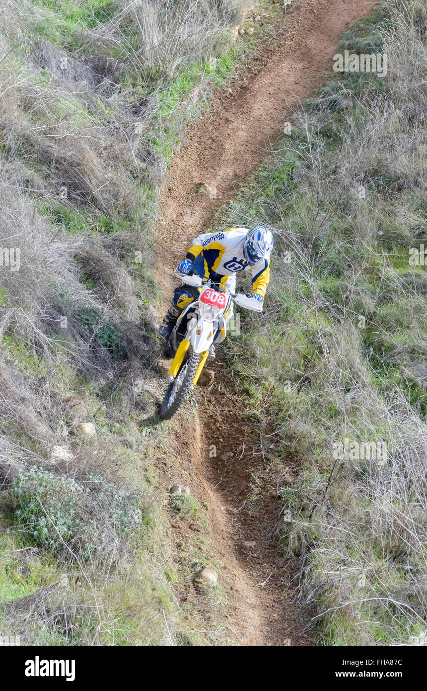Spain cross country championship. Aerial view of motorcyclist with Husqvarna motorcycle - Stock Image