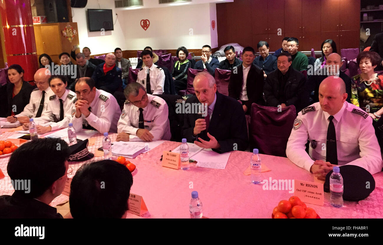 Paris, France. 24th Feb, 2016. Paris police chief Michel Cadot (Front, 2nd R) speaks during a meeting with representatives - Stock Image