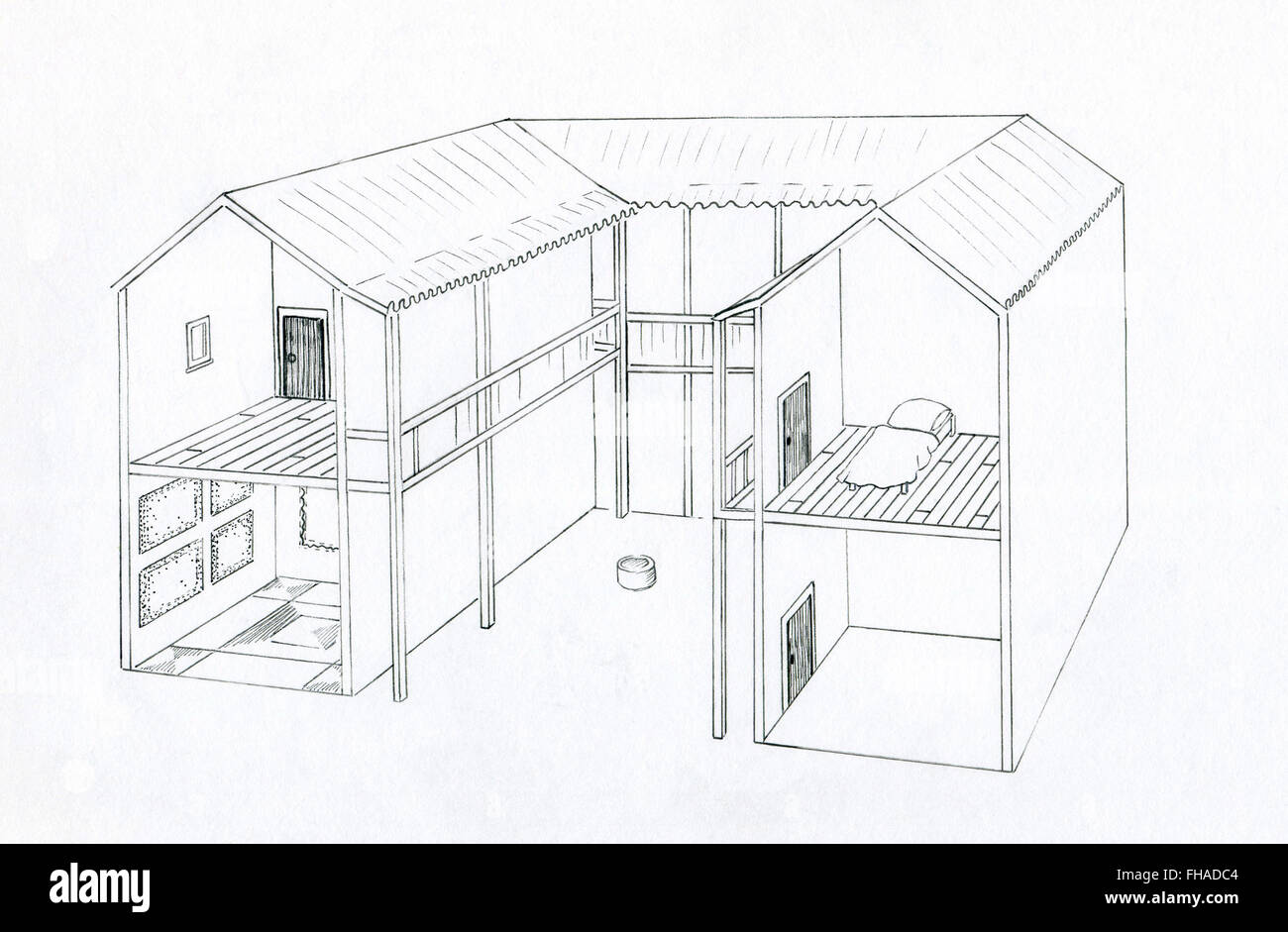 Line Drawing Of A Two Storey Ancient Athenian Greek House Stock