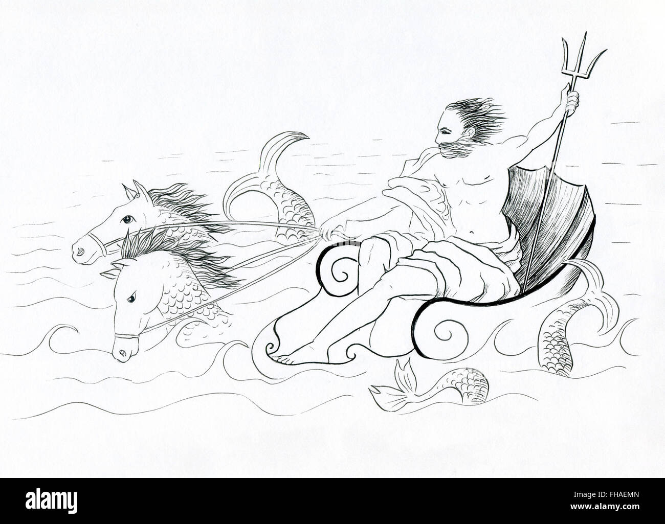 Neptune, Roman god of the sea in his chariot line drawing illustration - Stock Image