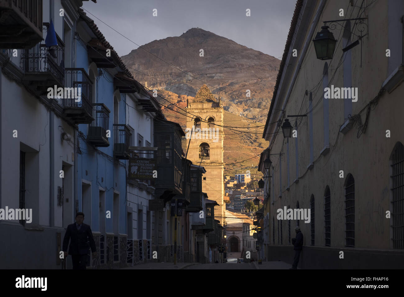 View of the famous mountain Cerro Rico over the city of Potosi - Stock Image