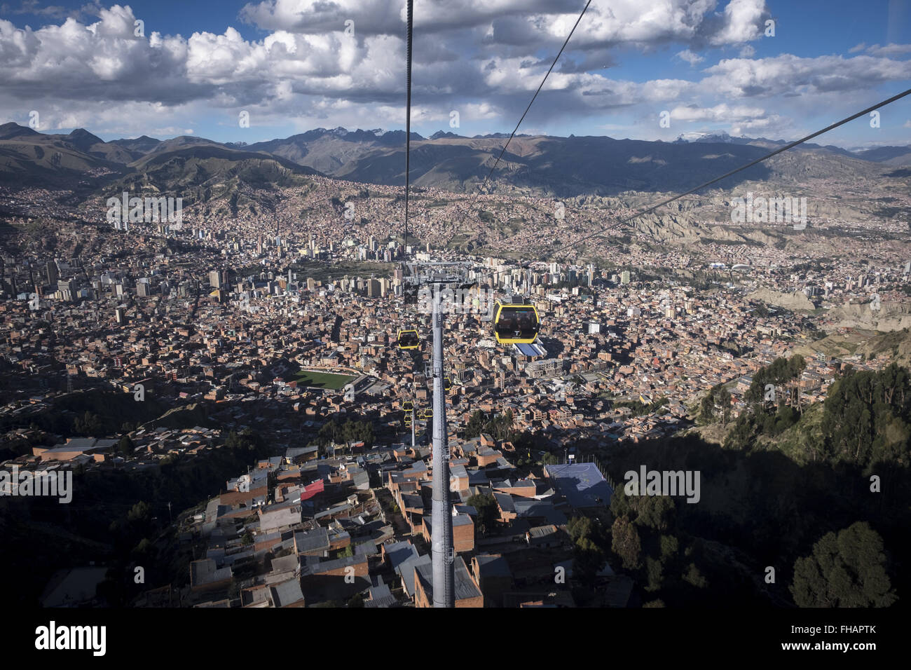 View of the city of La Paz from the cabin of the cable railway. - Stock Image