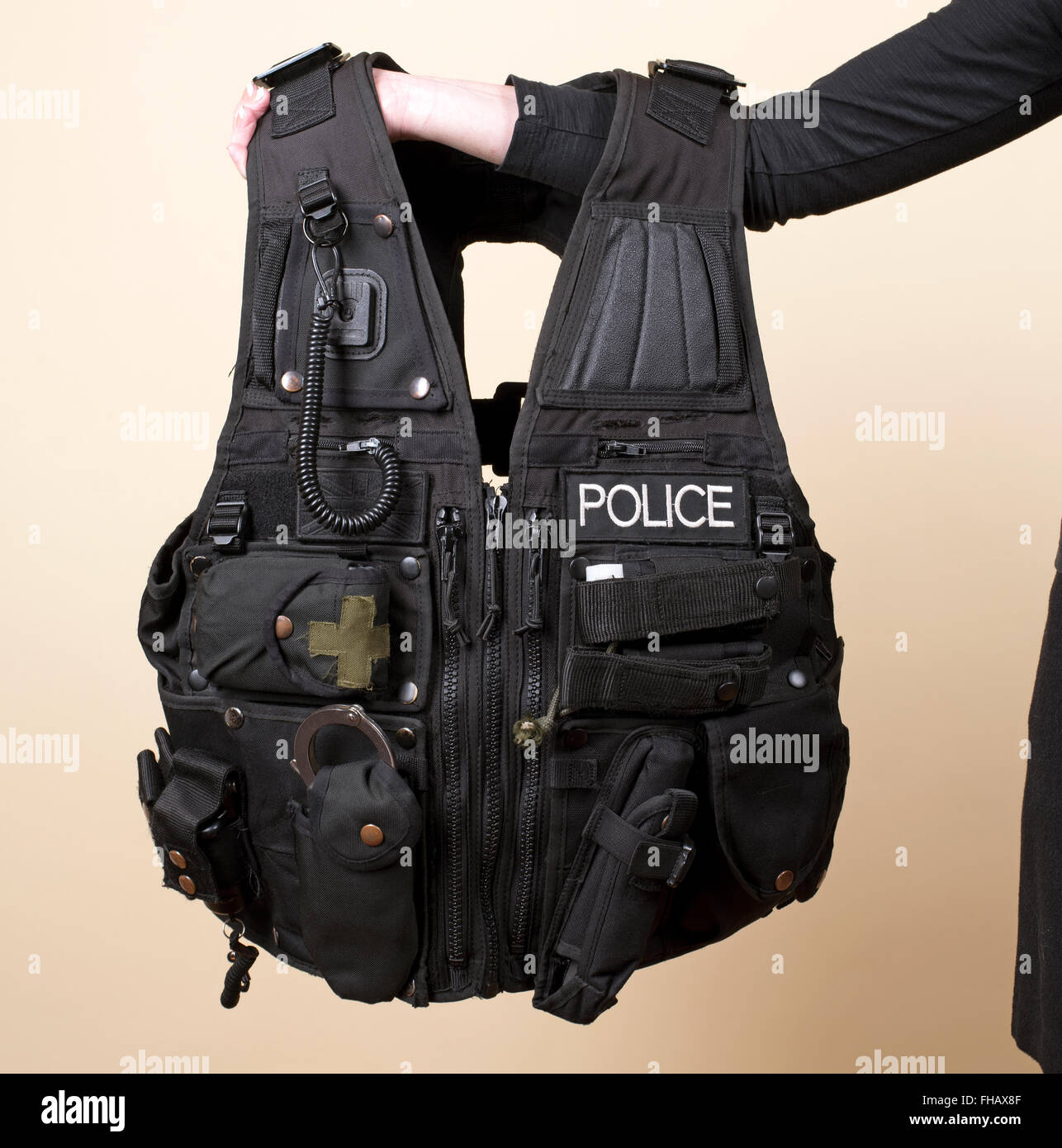 Police uniform a tactical vest - Stock Image