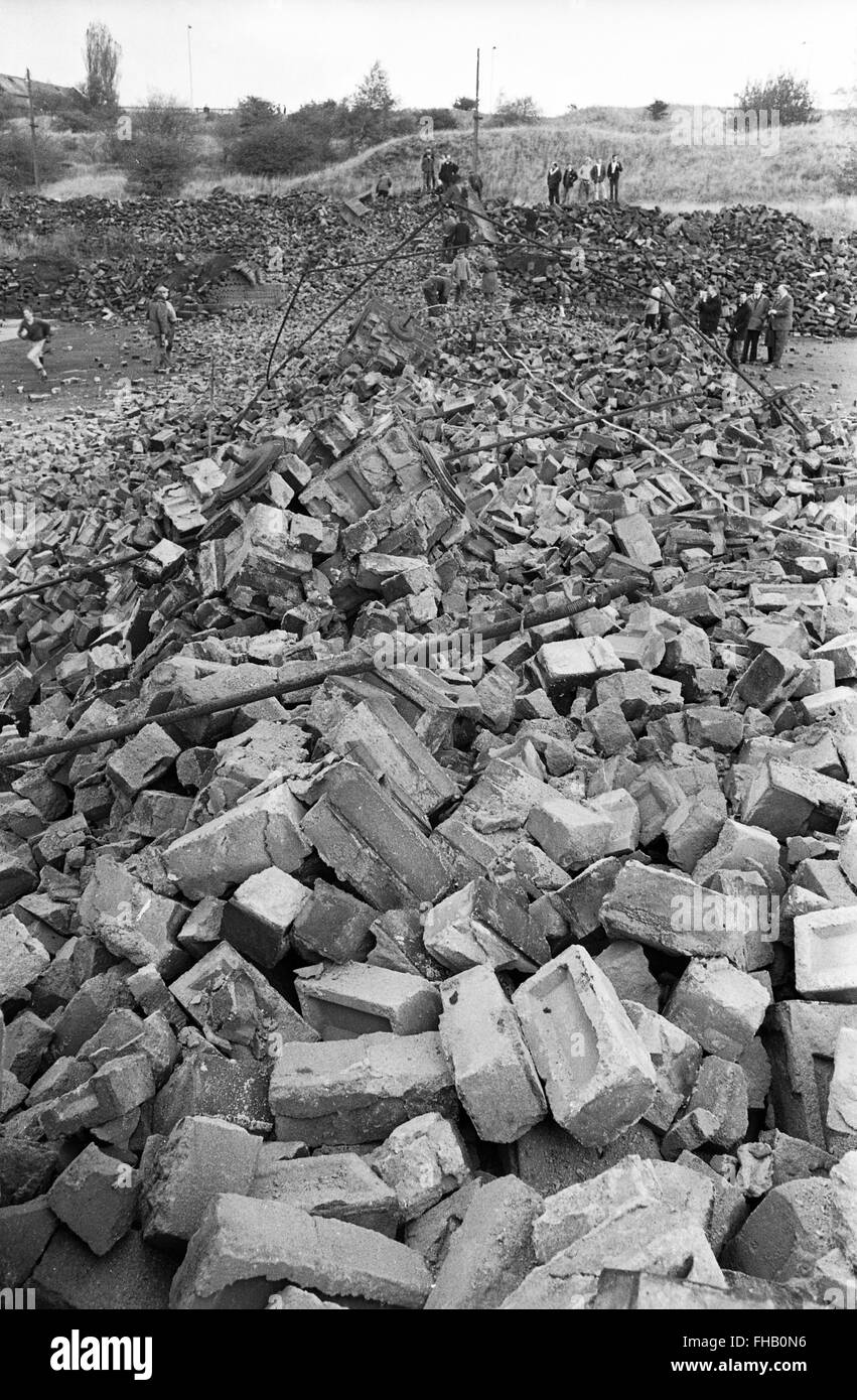 Rubble bricks from demolished victorian chimney stack The Lilleshall Company at Priorslee in Telford Shropshire - Stock Image