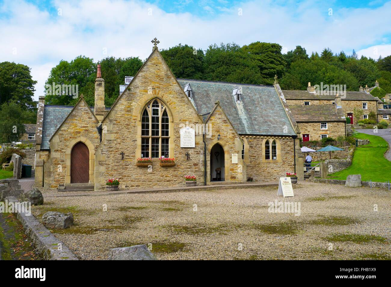 The White Monk Tearoom a former school house. Blanchland, North Pennines Area of Outstanding Natural Beauty, Northumberland, - Stock Image