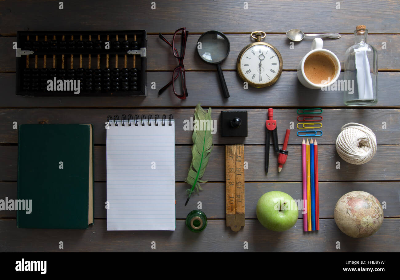 Stationery flat lay - Stock Image