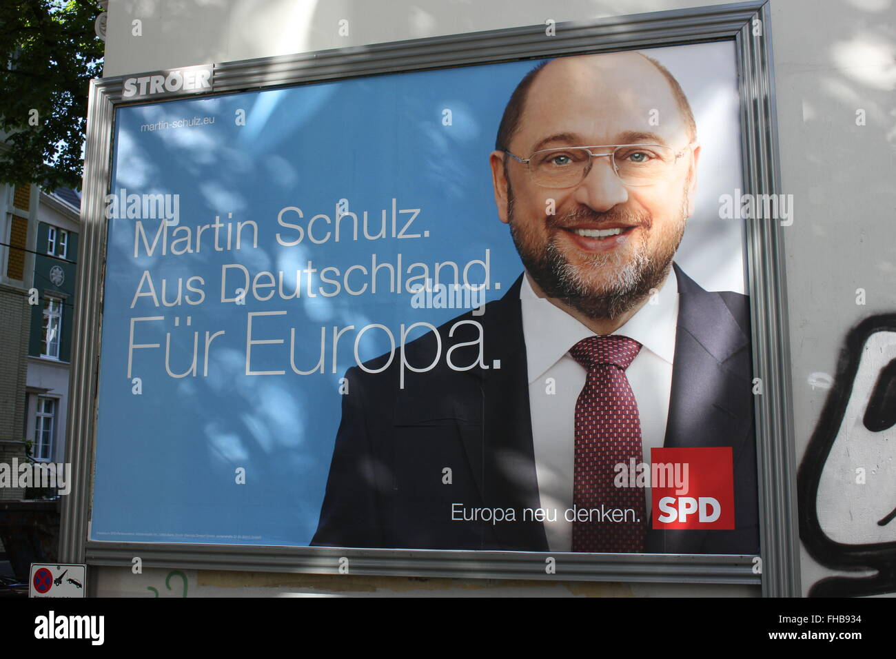election poster with Martin Schulz, SPD at the Europe election, 2014 - Stock Image
