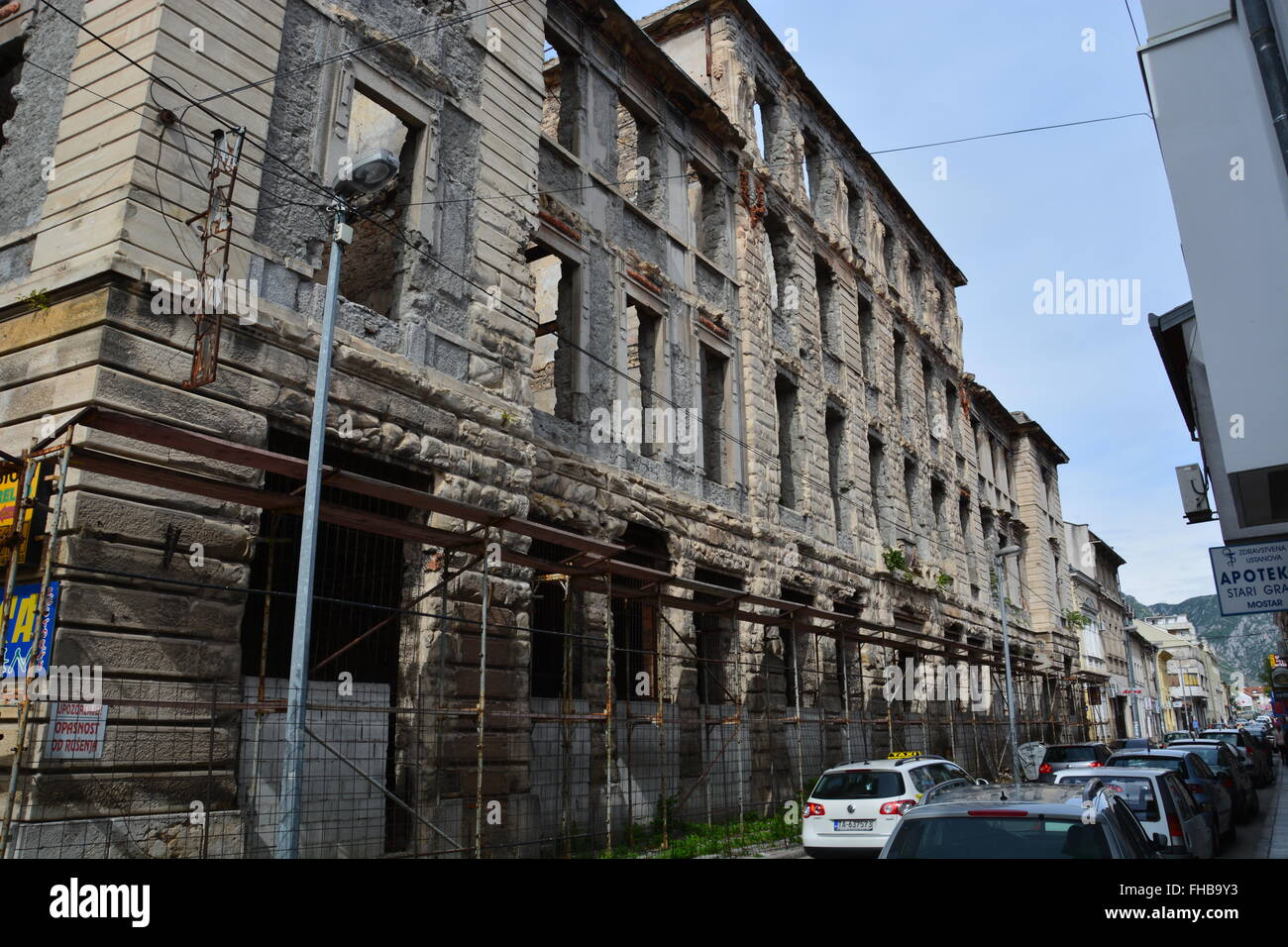 A building destroyed during the Bosnian War in Mostar. - Stock Image