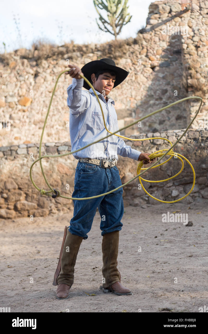 A Mexican charro or cowboy practices roping skills at a hacienda ranch in  Alcocer 5c5c97c7c7b0