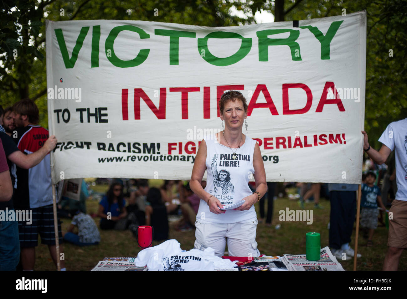 Pro-Palestinian activist, rally for Gaza, London, Aug 9, 2014 - Stock Image