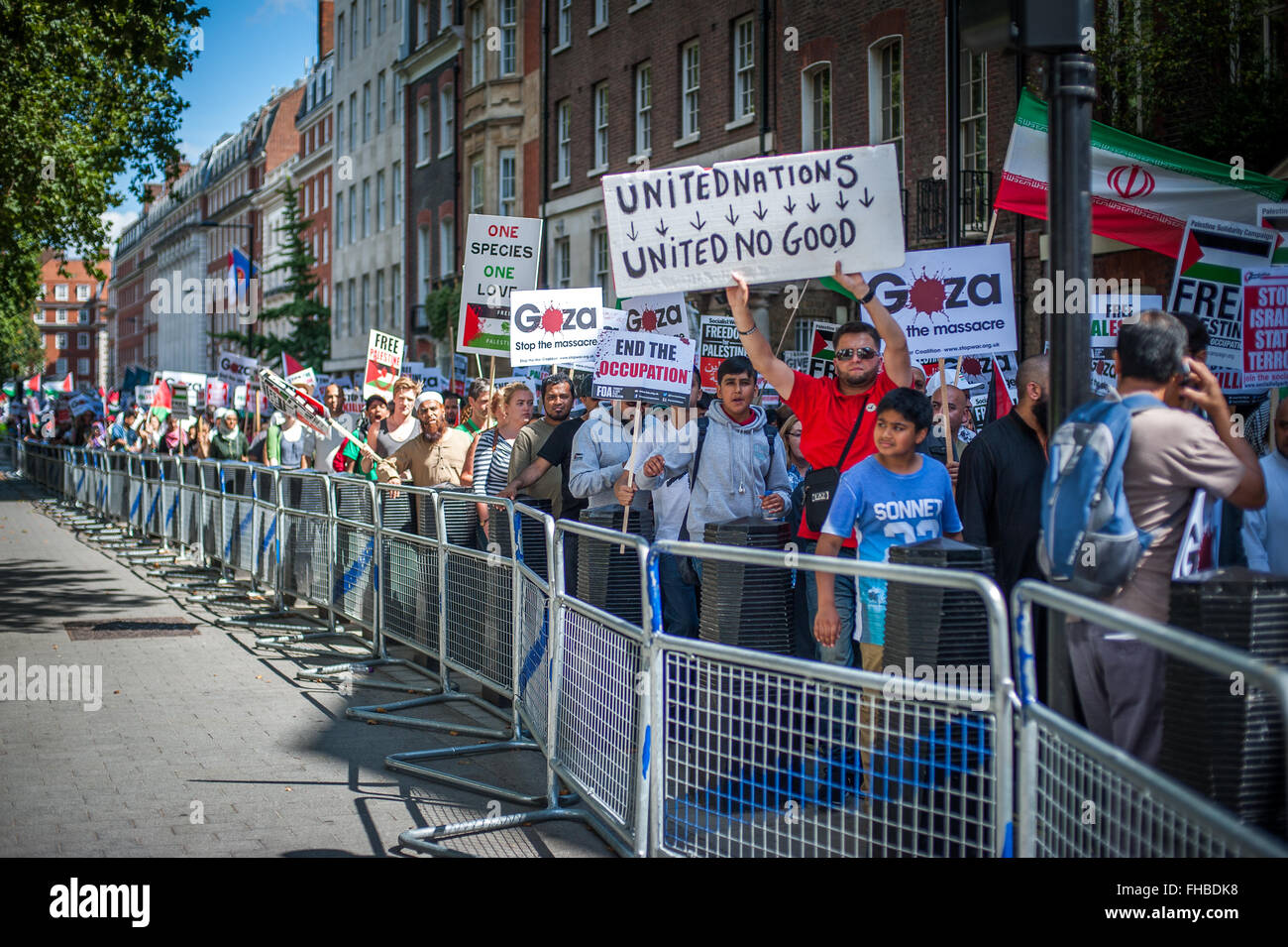 Protest march, rally for Gaza, London, Aug 9, 2014 - Stock Image