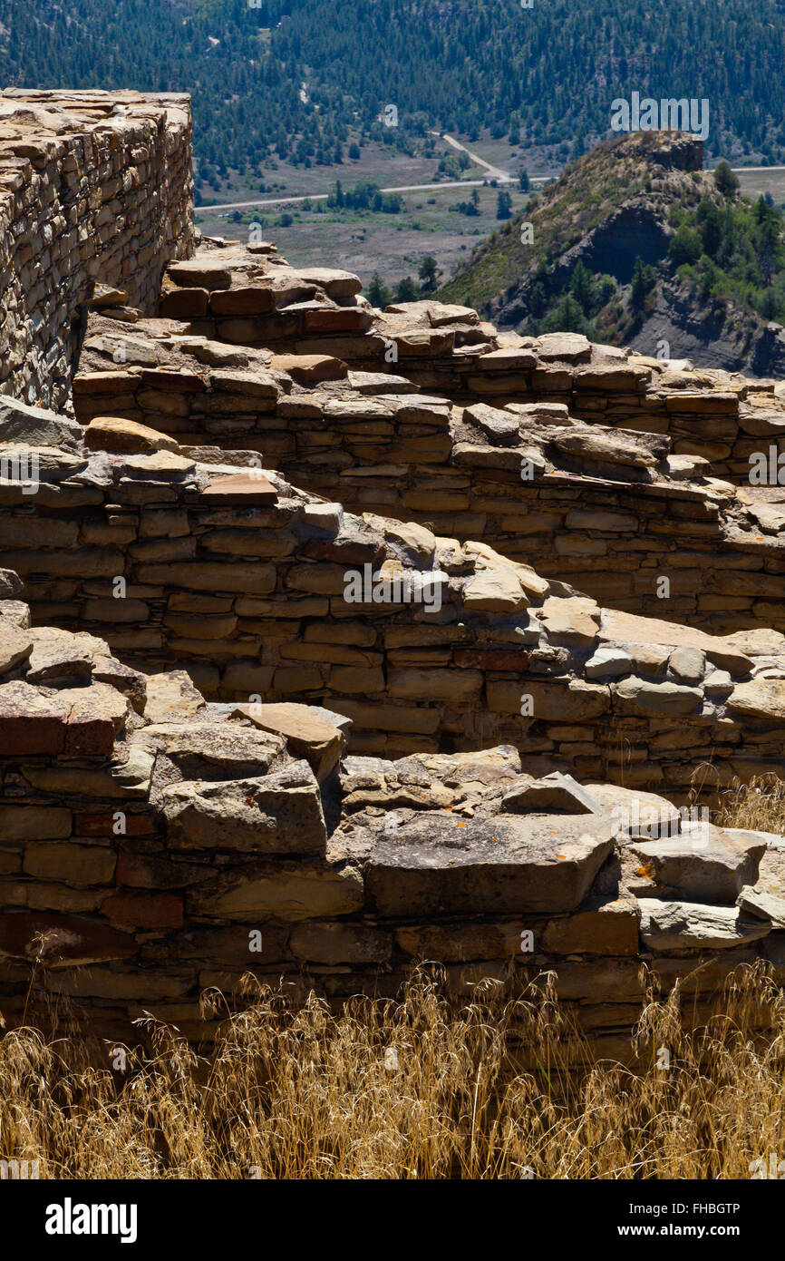 High quality rock constrution of Puebloan houses at the CHIMNEY ROCK NATIONAL MONUMENT- SOUTHERN COLORADO - Stock Image