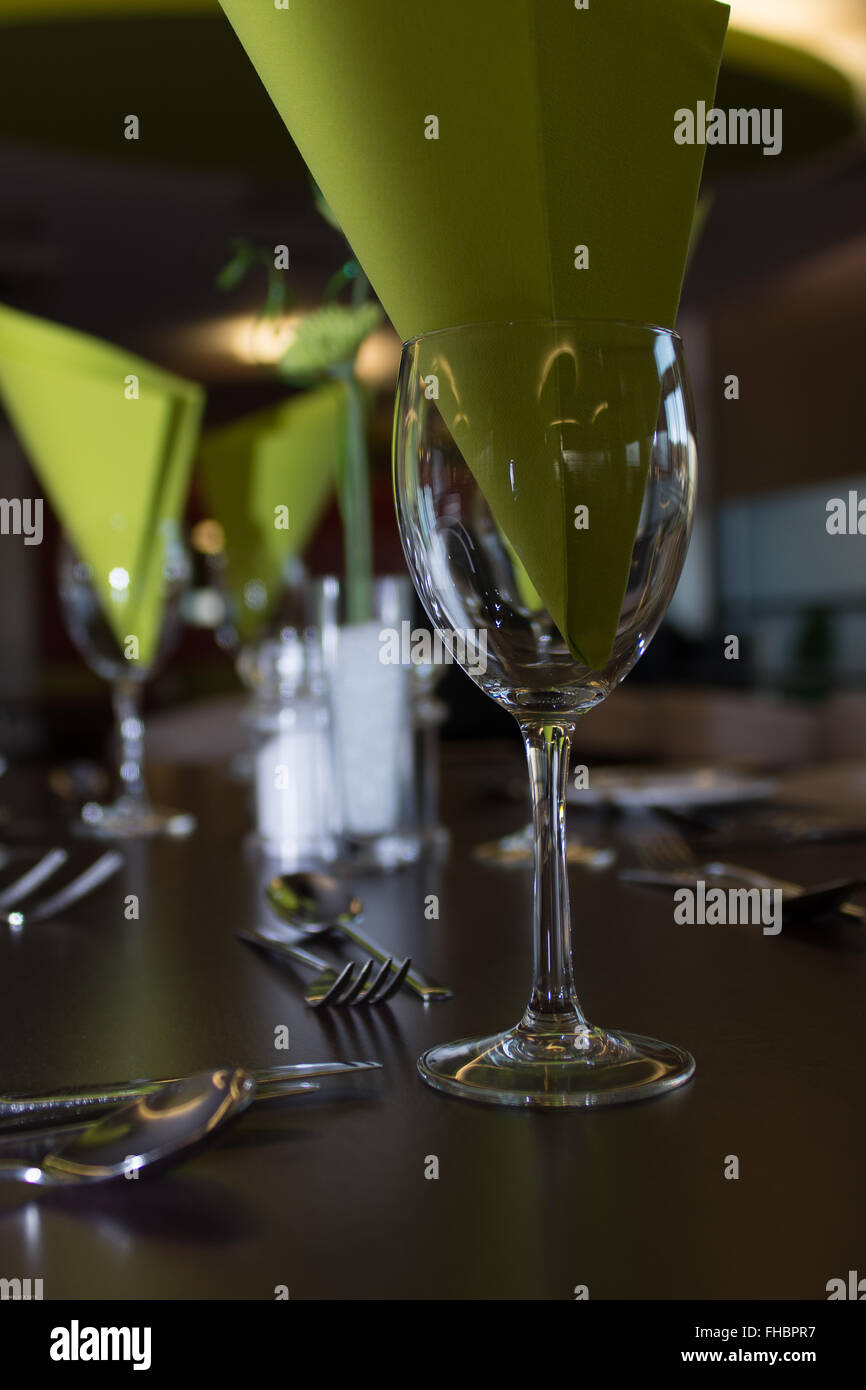 dining table set up in local restaurant - Stock Image