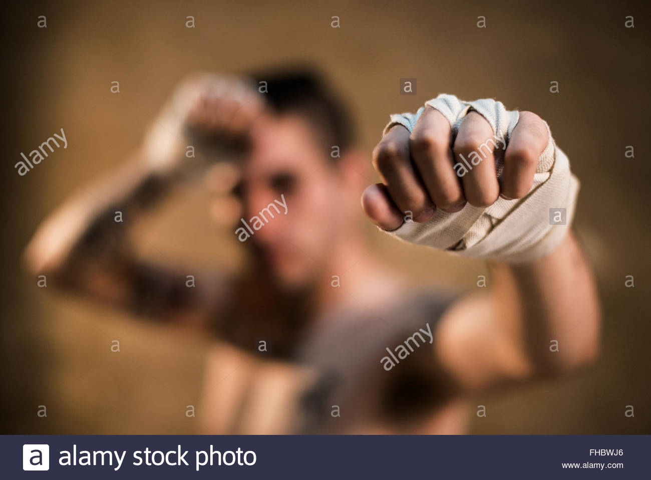 Bandaged hand of muay thai fighter - Stock Image