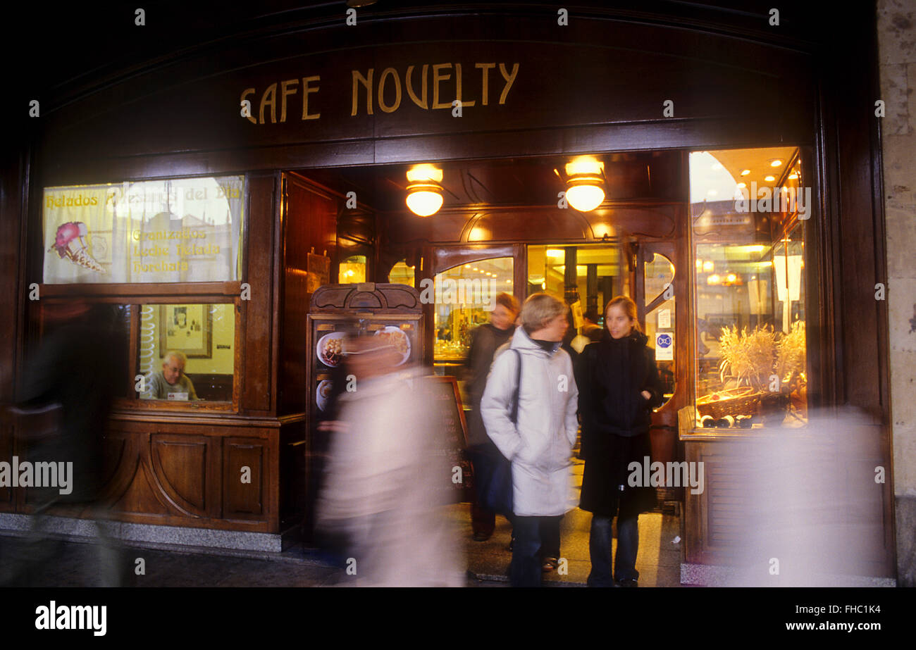 Cafe Novelty,Plaza Mayor 2,(Main Square), Salamanca,Spain - Stock Image
