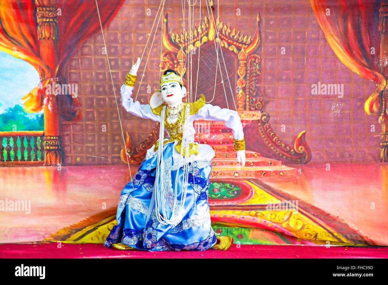 BAGO, MYANMAR - November 17, 2015: Yoke thé is the Burmese name for marionette puppetry.Burmese marionettes - Stock Image