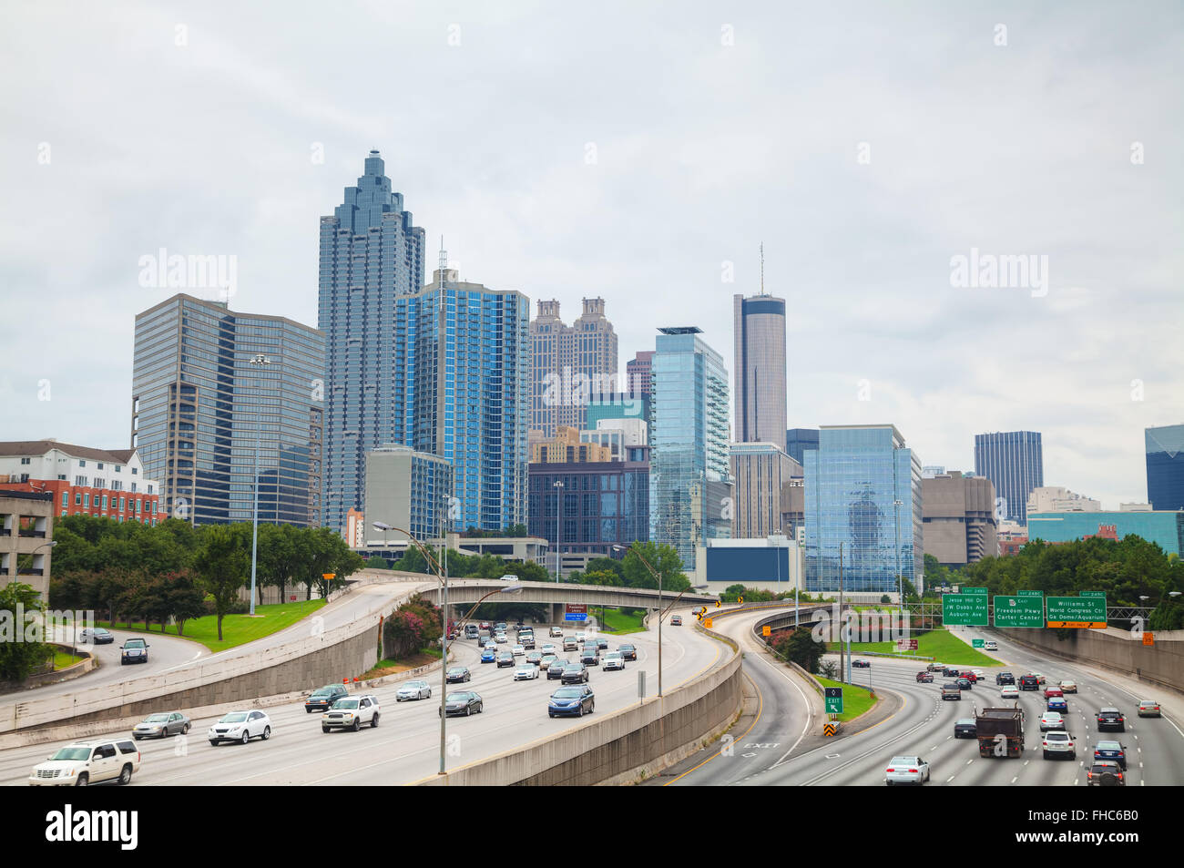 Downtown Atlanta, Georgia on a cloudy day - Stock Image