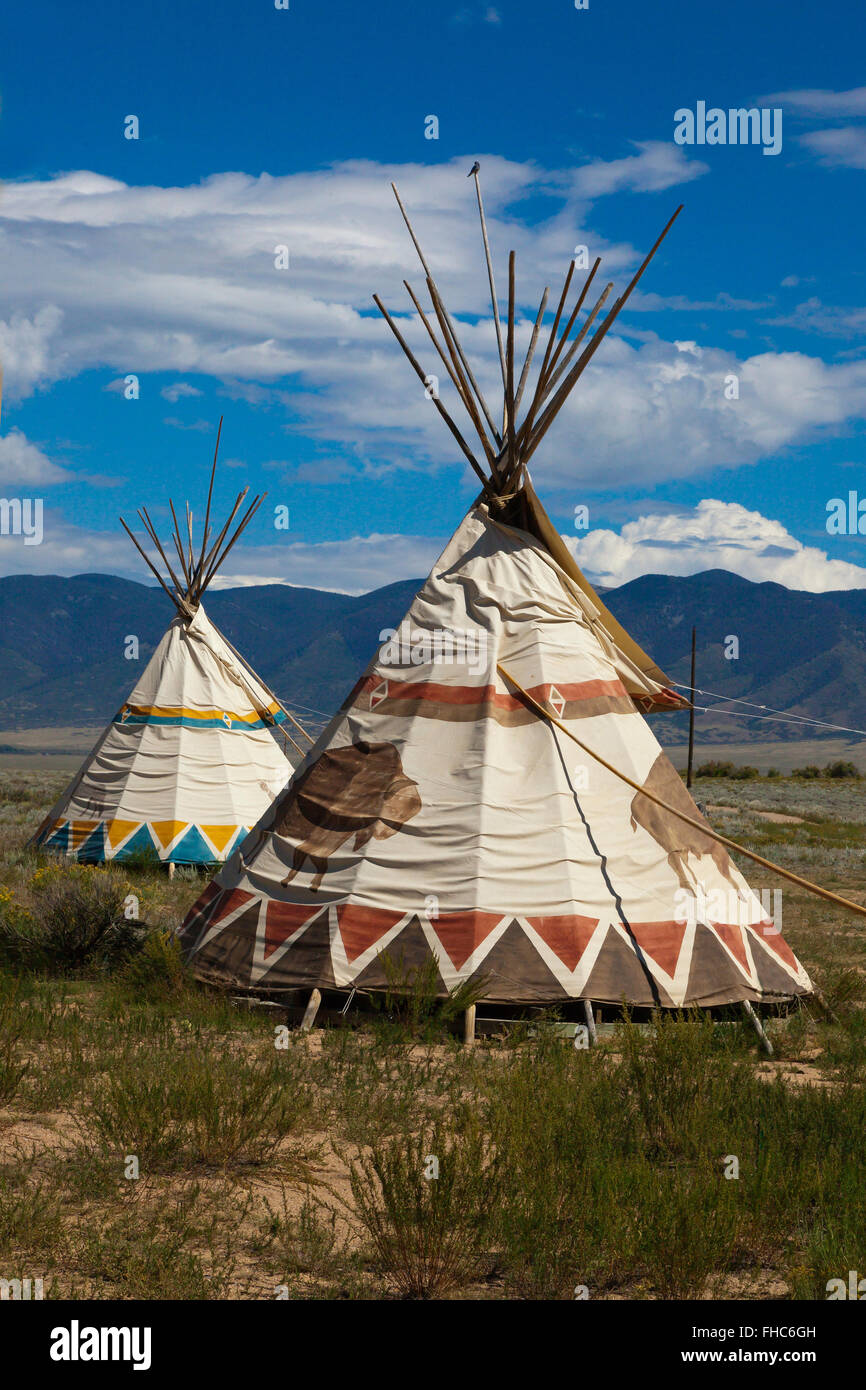 TEEPEES are used as accomodations at JOYFUL JOURNEYS HOT SPRINGS - MOFFAT COLORADO - Stock Image