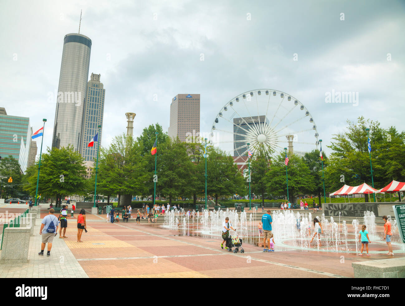 ATLANTA - AUGUST 29: Centennial Olympic park with people on August 29, 2015 in Atlanta, GA. - Stock Image