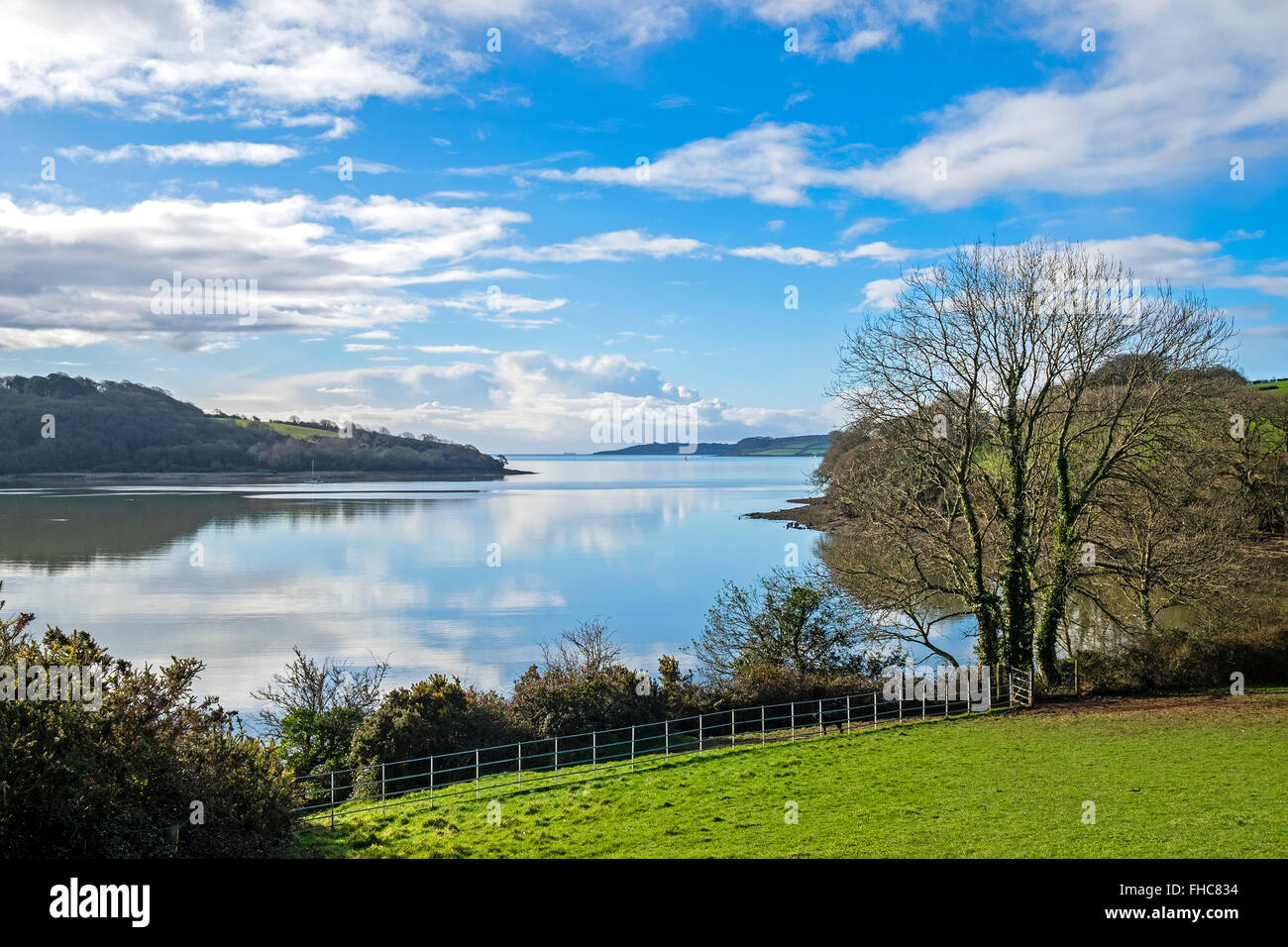 A view of the Carrick Roads on the river Fal in Cornwall, UK - Stock Image
