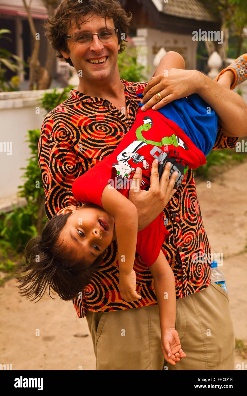 Bodhi Garrett and son - BAN XANGKHONG, LAOS  MR Stock Photo