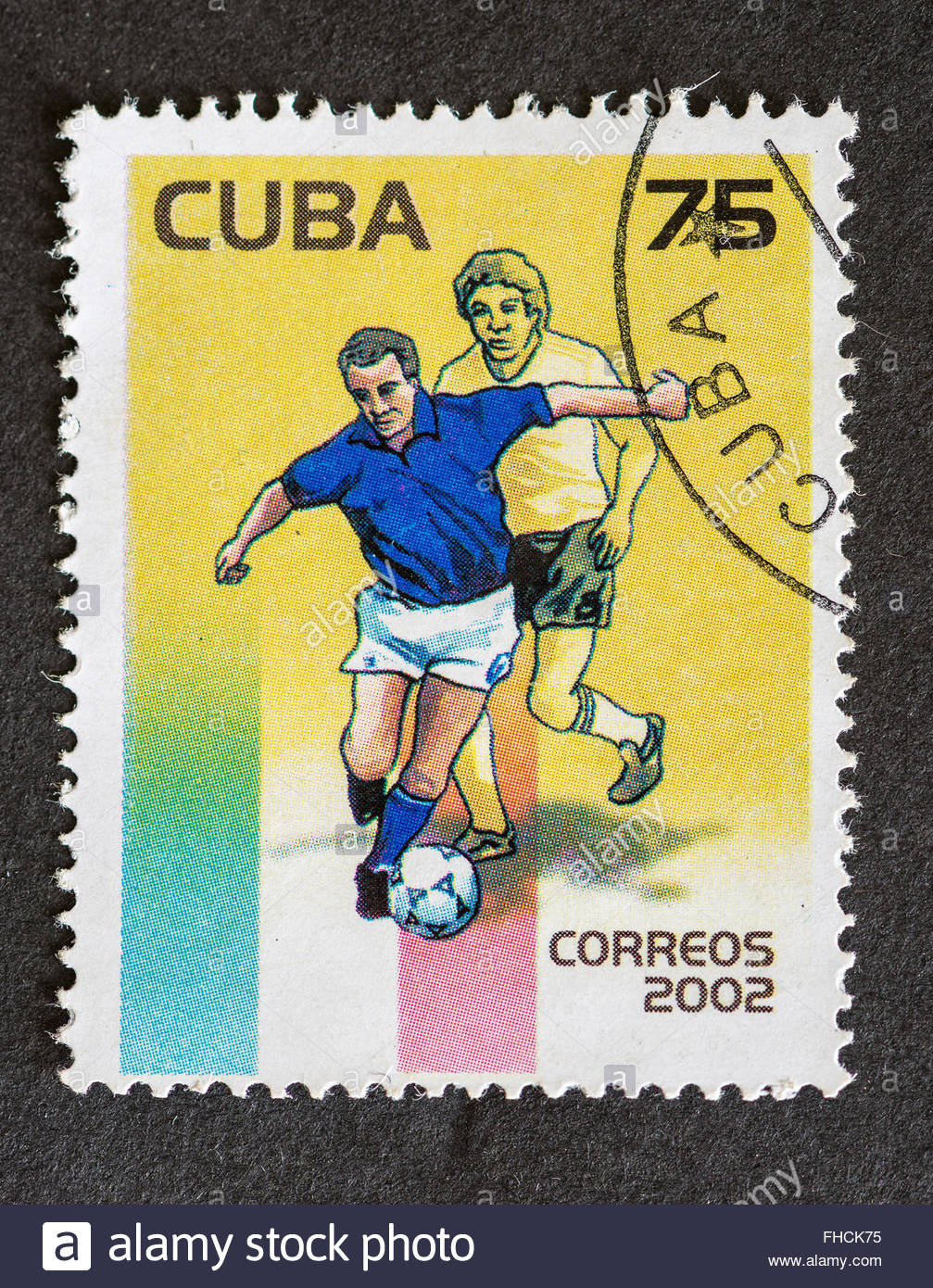 Postage stamp printed in Cuba used for mail, a series of stamps that were released in the year 2002 depicting soccer - Stock Image
