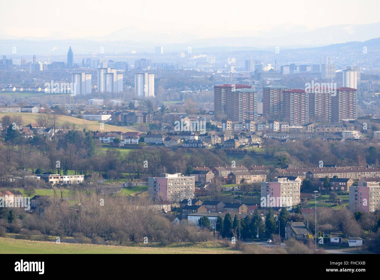 View over Glasgow, Scotland, UK, from the Old Kilpatrick hills which lie to the north and run east to west. - Stock Image
