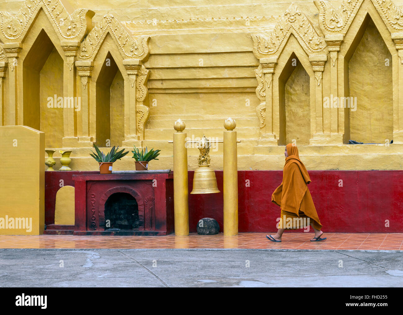 Monk in temple, Burma - Stock Image