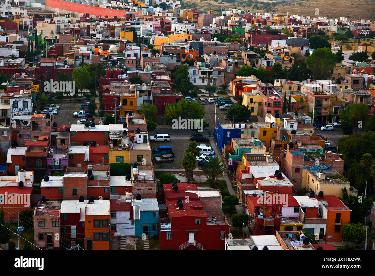 ARIAL VIEW as seen from a BALLOON RIDE offered by Coyote Adventures -  SAN MIGUEL DE ALLENDE, MEXICO - Stock Image