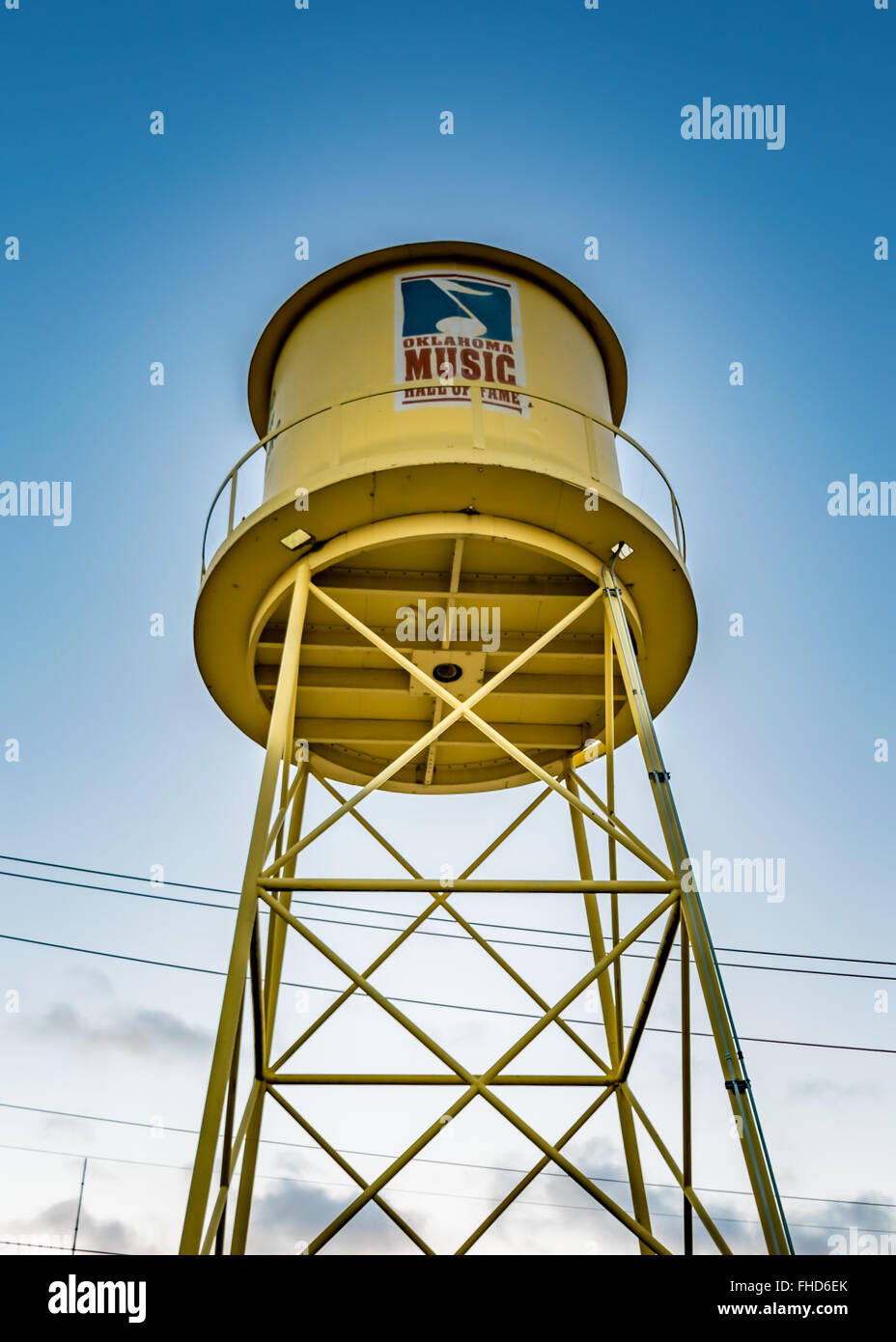 Water Tower that serves as the welcoming sign and landmark of the Oklahoma Music Hall of Fame in Muskogee Stock Photo