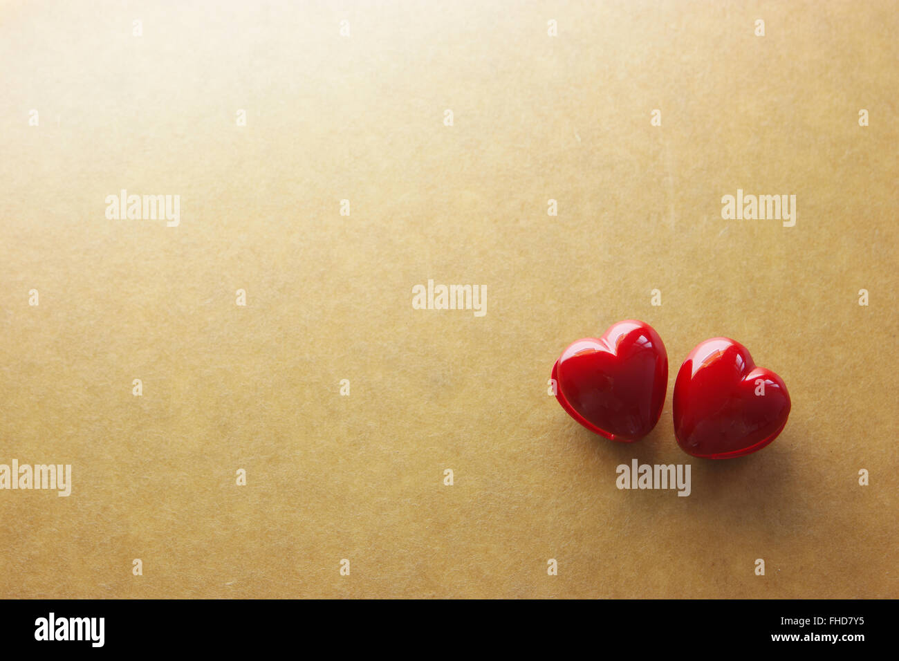 red heart on vintage paper - Stock Image