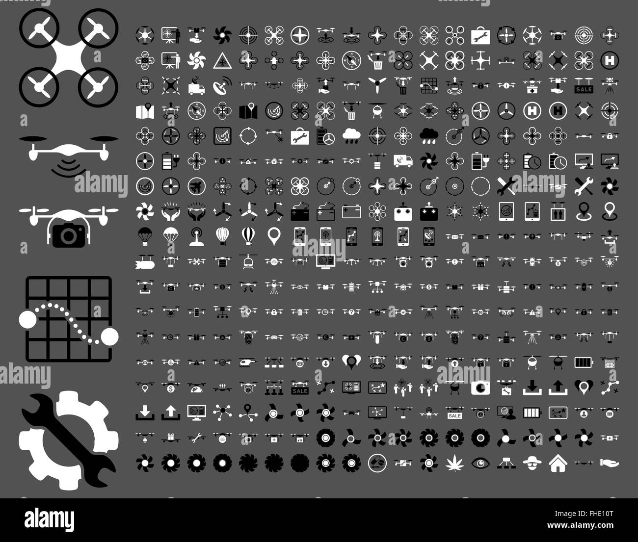 Air drones and quadcopter tools icons - Stock Image