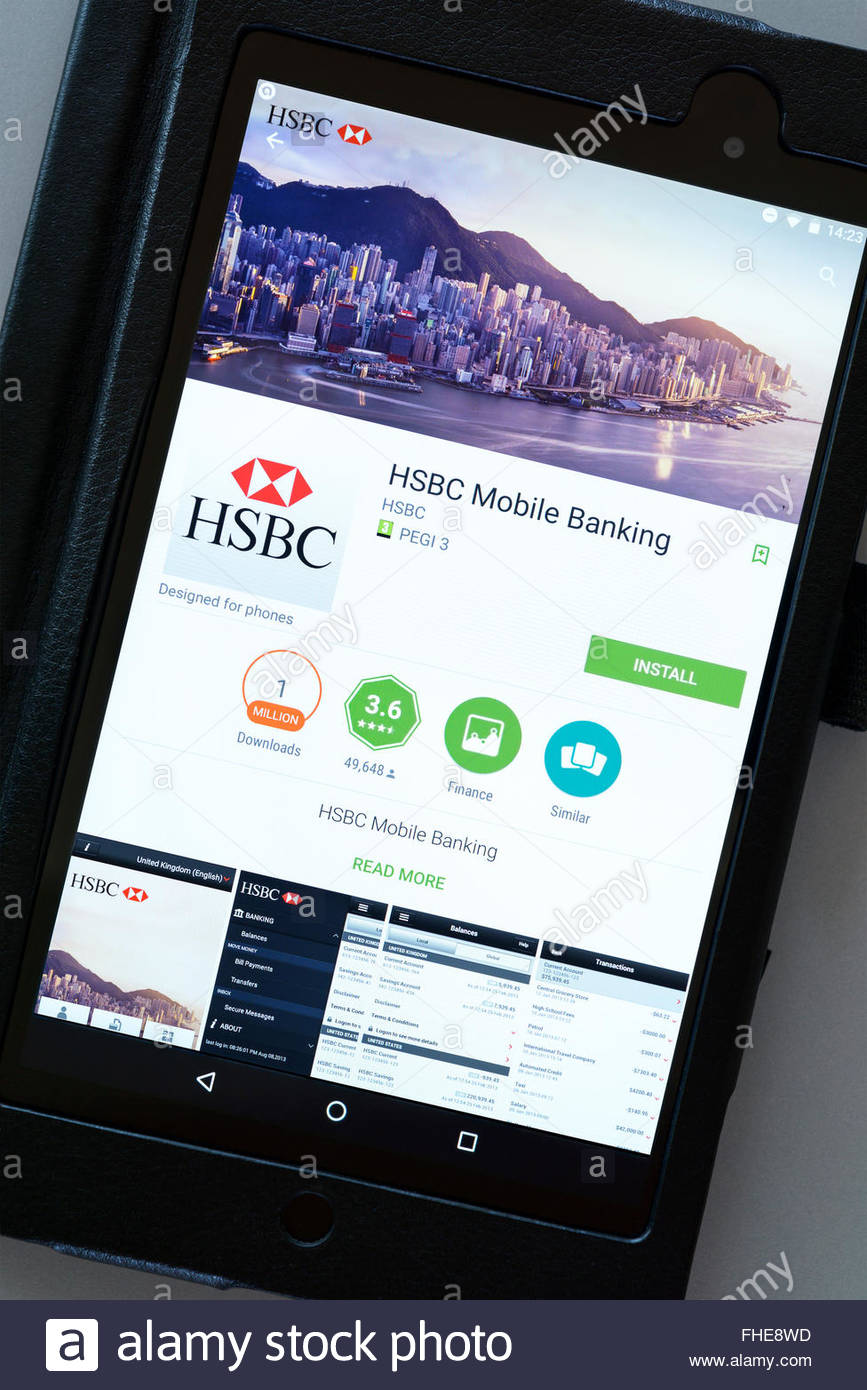 HSBC mobile banking app on an android tablet PC, Dorset, England, UK