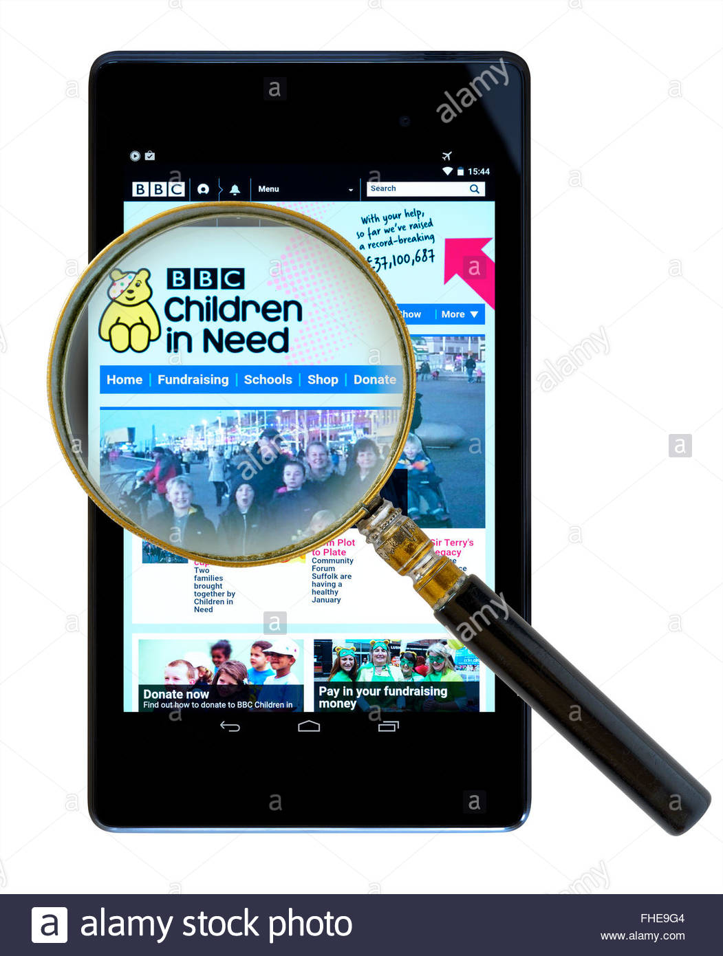 BBC Children In Need fundraising app on an android tablet PC, Dorset, England, UK - Stock Image