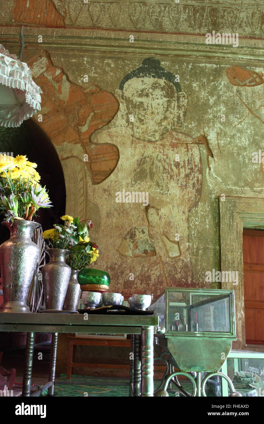 The old golden Buddha statue in pagoda temple in Bagan,Myanmar Stock Photo