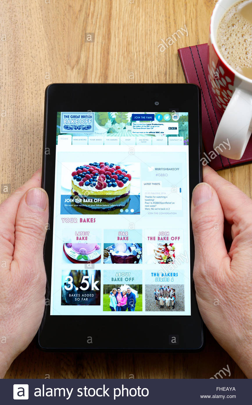The Great British Bake Off app on an android tablet PC, Dorset, England, UK - Stock Image