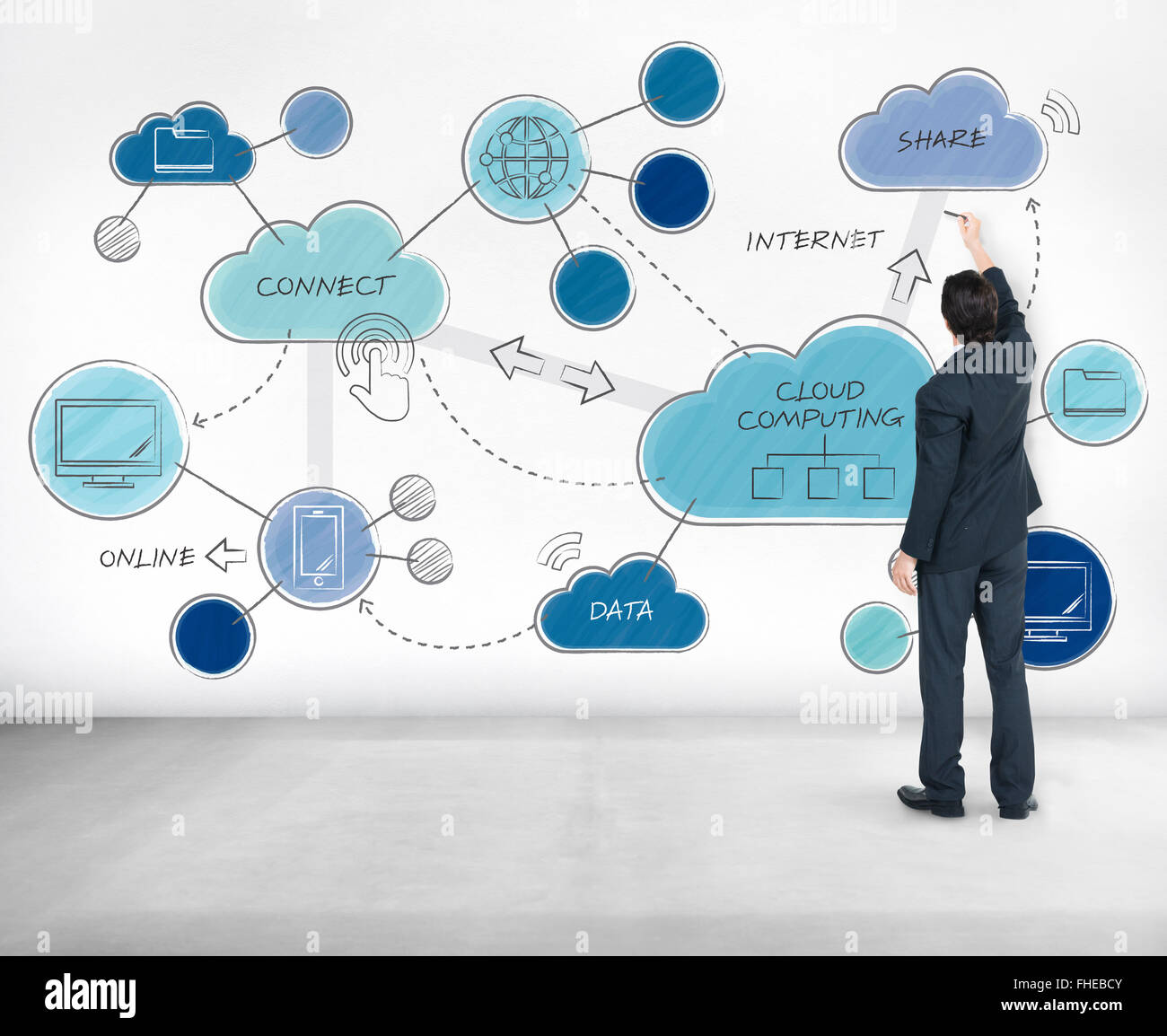 Cloud Computing Networking Connecting Concpet Stock Photo: 96817307 ...