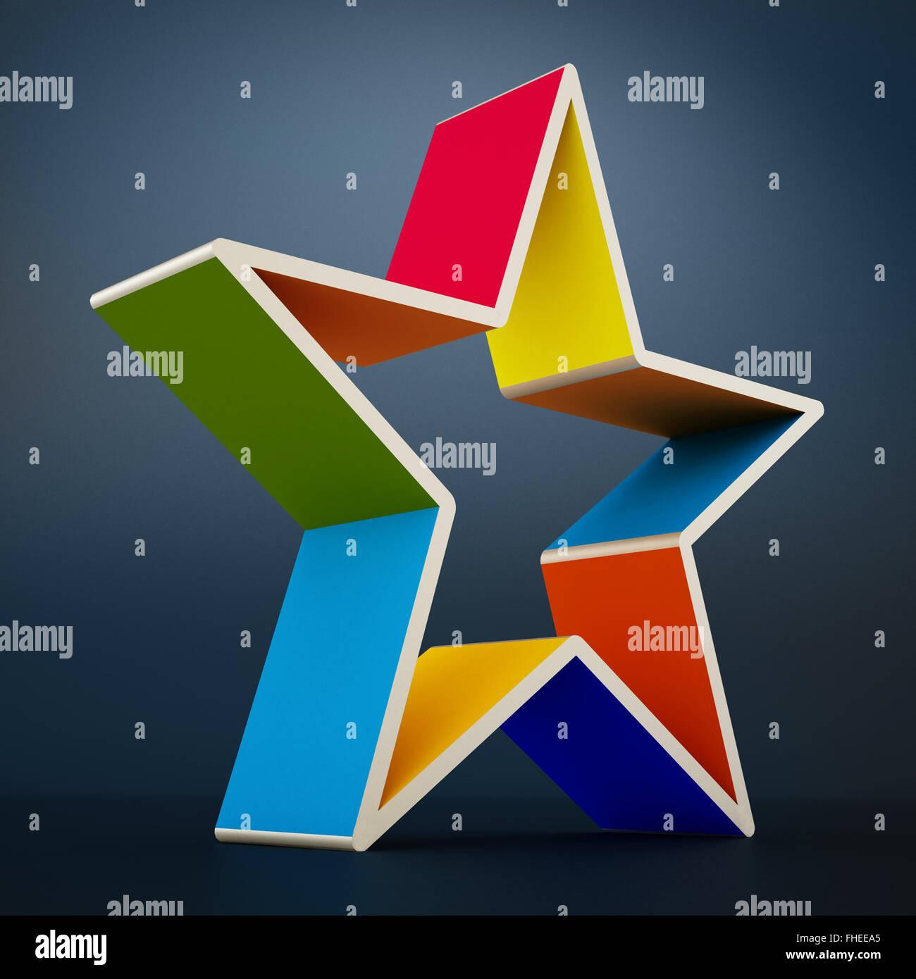 Multi colored star shape isolated on black  background. - Stock Image