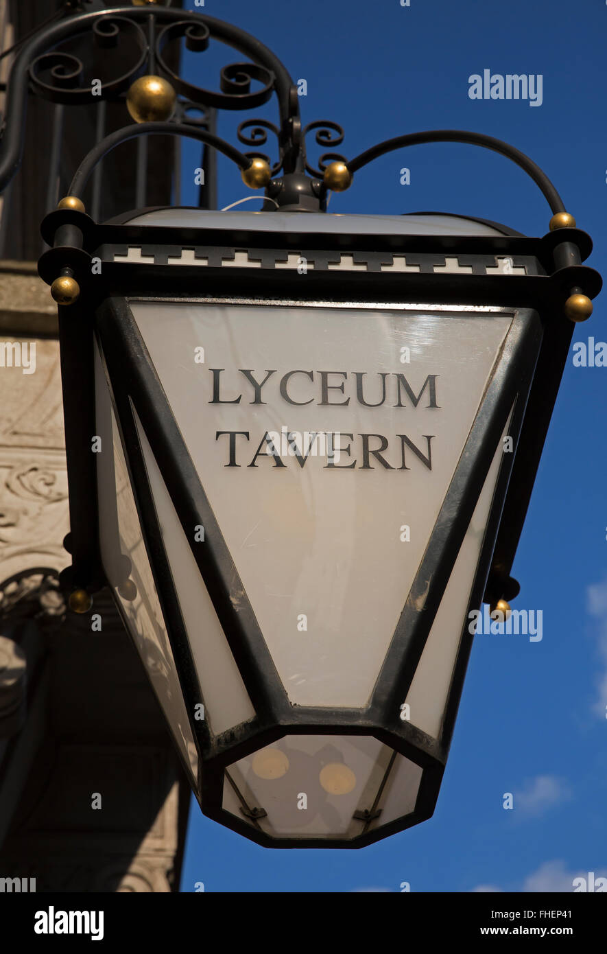 Lyceum Tavern glass light in the Strand London - Stock Image